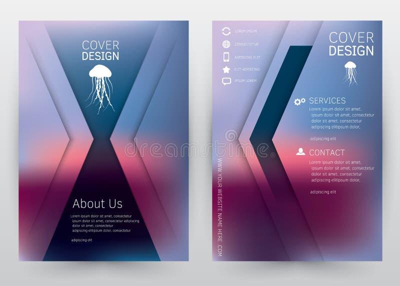 Брошюра шаблона вектора дизайна крышки установленная, годовой отчет, кассета, плакат, корпоративное представление, портфолио, рог иллюстрация вектора