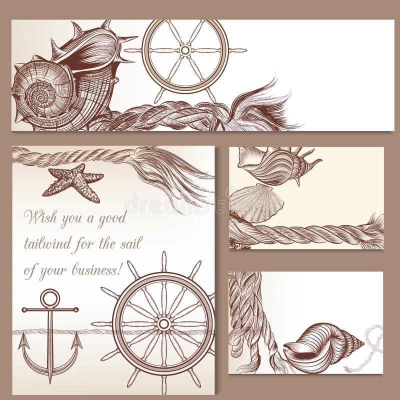 Брошюры вектора моря установили с объектом нарисованным рукой морским иллюстрация штока