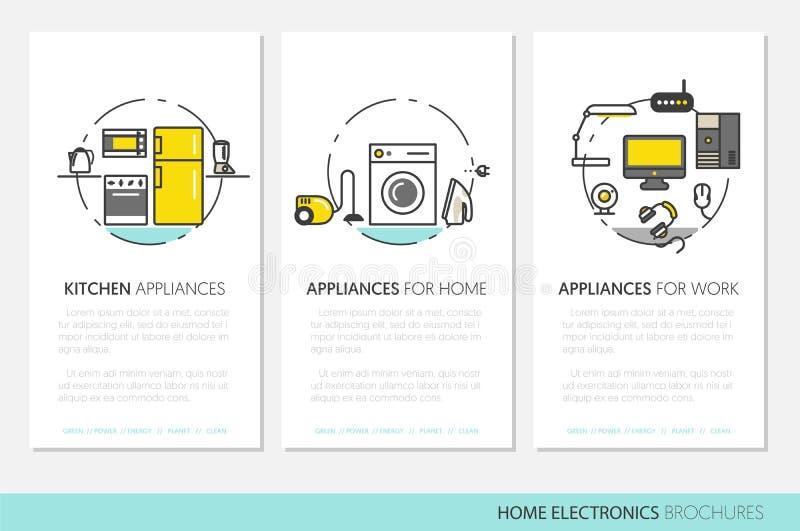 Брошюры дела приборов домашней электроники иллюстрация штока