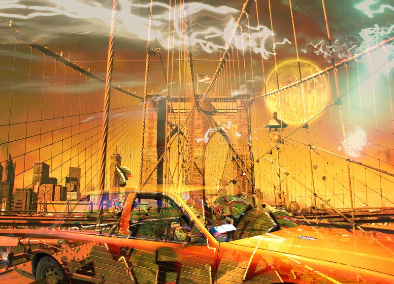 Бруклинский мост и желтая кабина стоковые фотографии rf