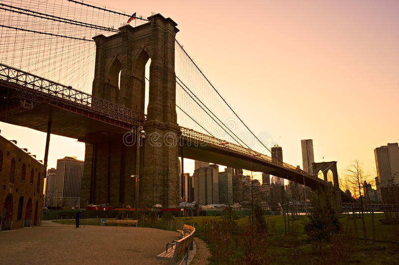 Бруклинский мост, Нью-Йорк. стоковые фото