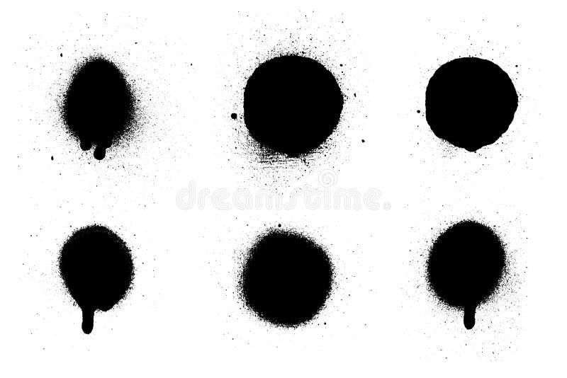 Брызги краски от консервной банки Комплект щетки вектора Черный выплеск на белой предпосылке бесплатная иллюстрация