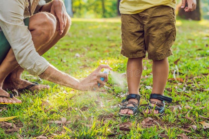Брызг москита пользы папы и сына Распыляя средство от насекомых на коже внешней стоковые изображения