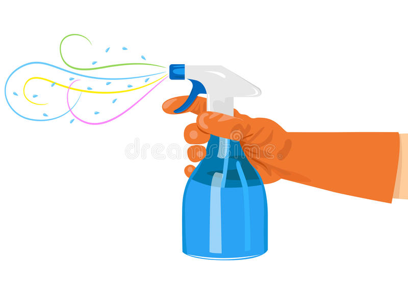 брызг удерживания руки бутылки иллюстрация штока