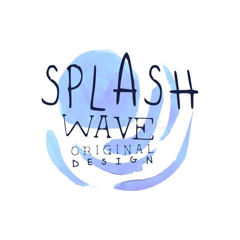 Брызните оригинальный дизайн шаблона логотипа волны, ярлык aqua голубой, абстрактную иллюстрацию вектора акварели значка воды бесплатная иллюстрация