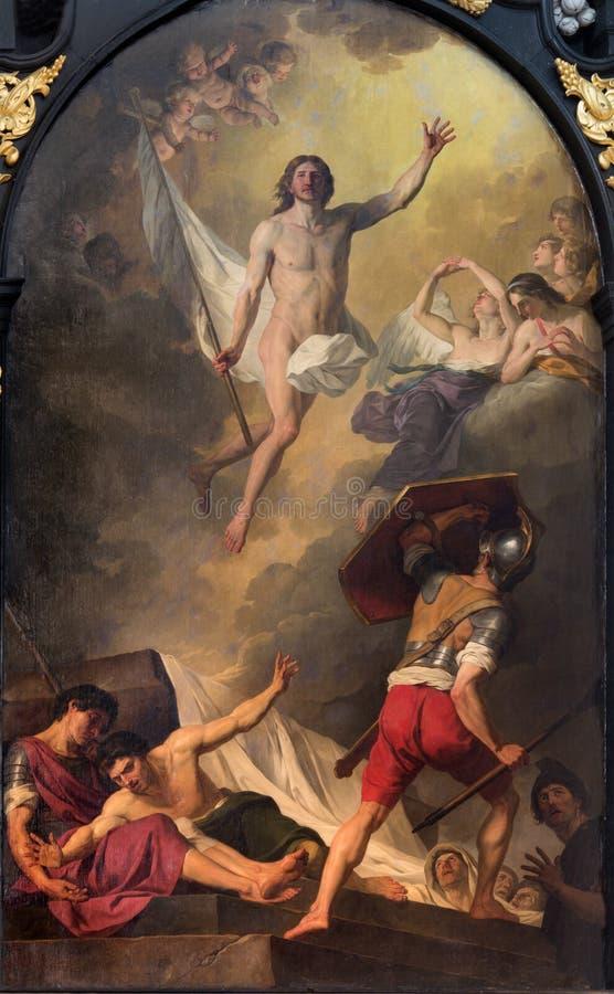 Брюгге - краска воскресения j Suvee (1743-1807) в церков st Walburga стоковые изображения rf