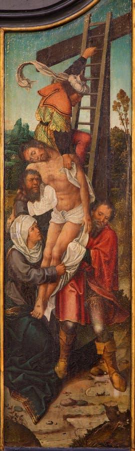 Брюгге - низложение креста неизвестным художником школы Falmisch в церков или Katharinakerk st Katharine стоковая фотография