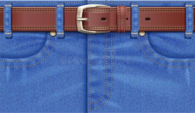 Брюки джинсовой ткани с кожаным поясом Брюки джинсов r иллюстрация вектора