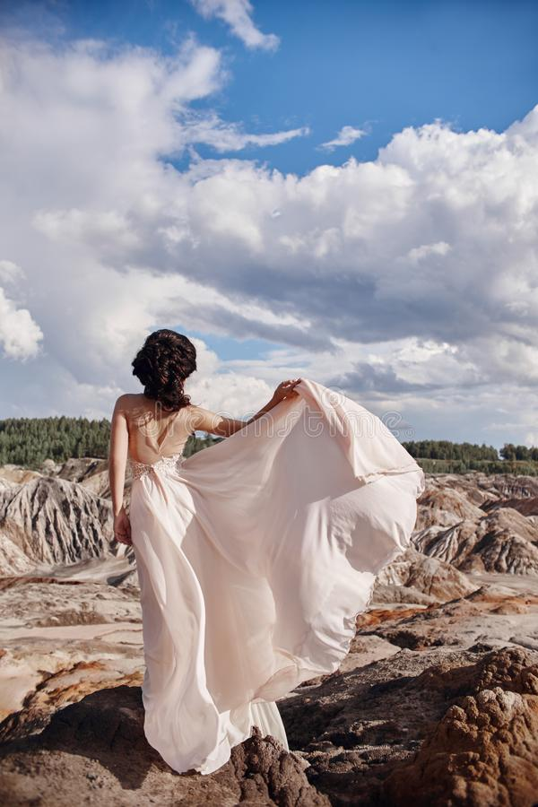 Брюнет в розовом платье стоит на скале, рябях ветра dre стоковые изображения