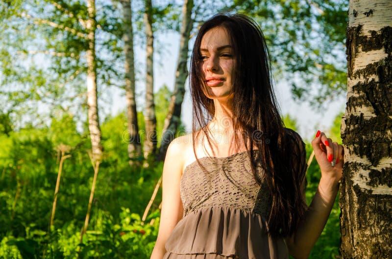 Брюнет стоит около березы в лесе стоковое изображение rf
