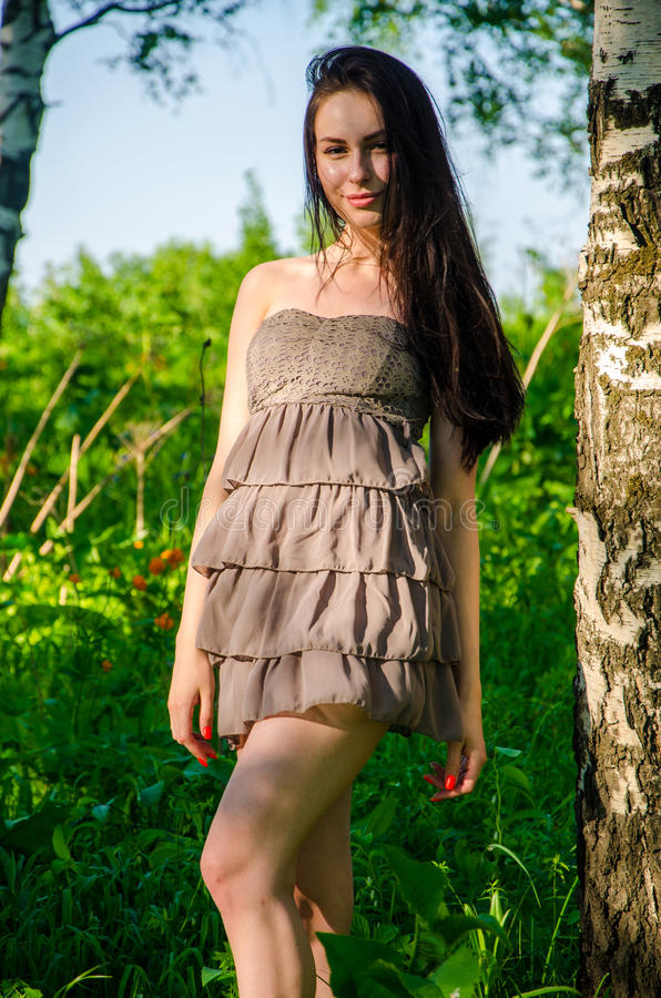 Брюнет стоит около березы в лесе стоковая фотография