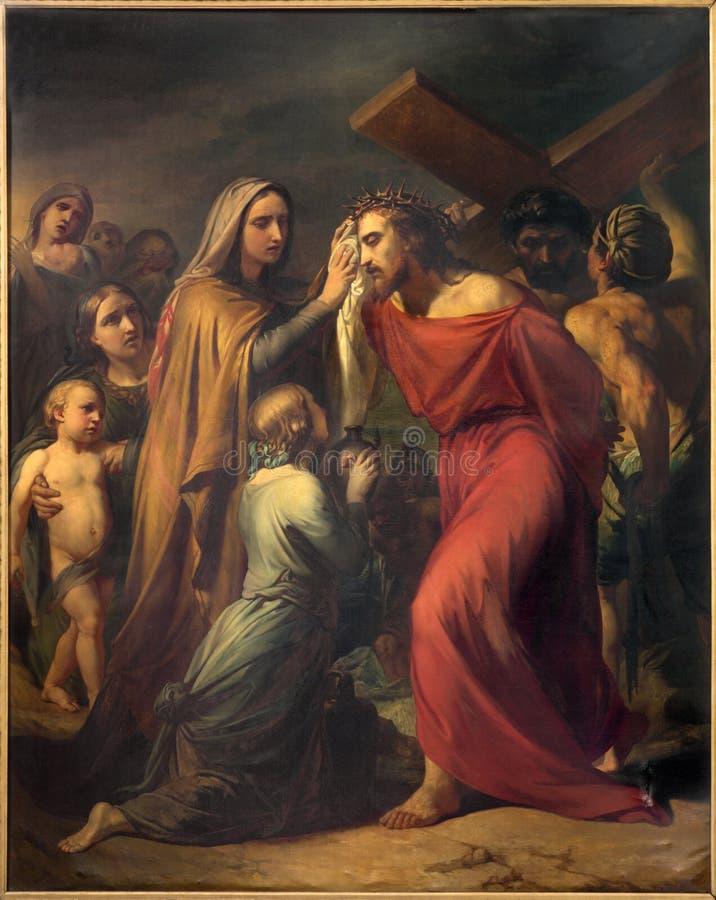 Брюссель - Вероника обтирает сторону Иисуса Джином Baptiste фургоном Eycken (1809 до 1853) в Нотр-Дам de Ла Chapelle стоковая фотография rf