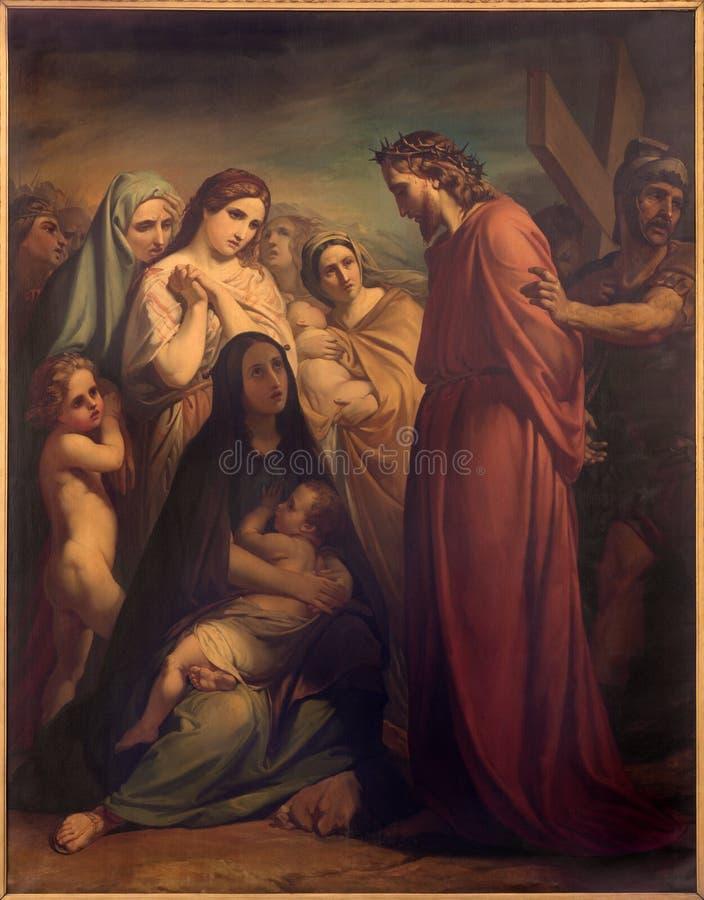 Брюссель - Иисус встречает женщин Иерусалима Джином Baptiste фургоном Eycken (1809 до 1853) в Нотр-Дам de Ла Chapelle стоковые фото