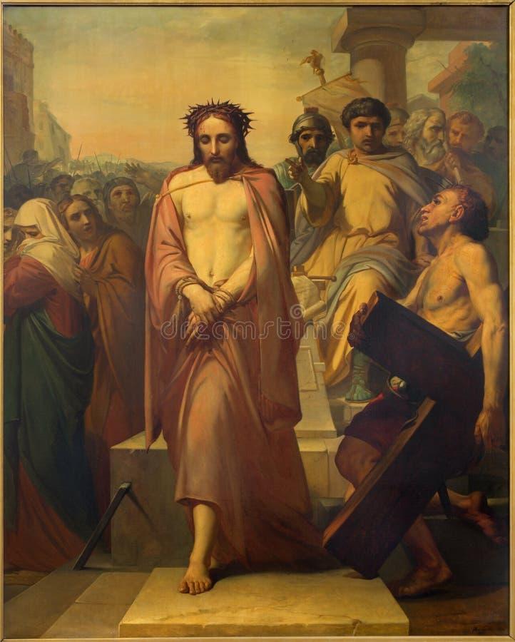Брюссель - Иисус для Pilate Джином Baptiste фургоном Eycken (1809 до 1853) в Нотр-Дам de Ла Chapelle стоковые изображения rf