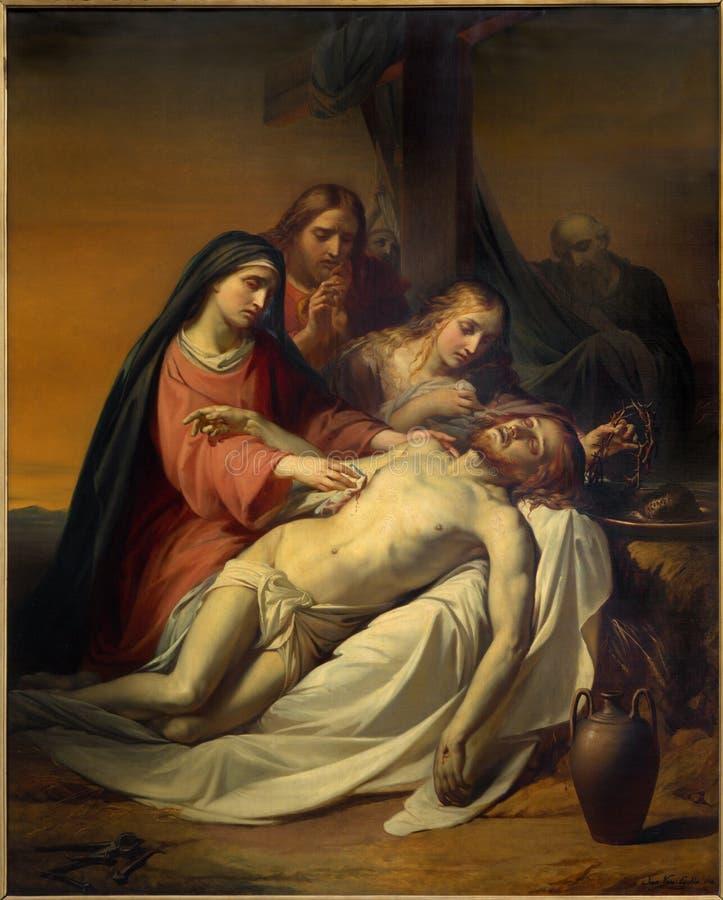 Брюссель - картина Pieta Джином Baptiste фургоном Eycken (1809 до 1853) в Нотр-Дам de Ла Chapelle стоковые фото