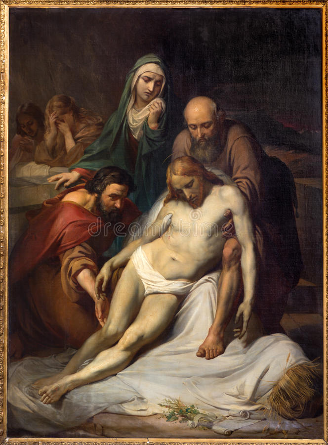 Брюссель - Depositioin креста Джином Baptiste фургоном Eycken (1809 до 1853) в Нотр-Дам de Ла Chapelle стоковые изображения rf