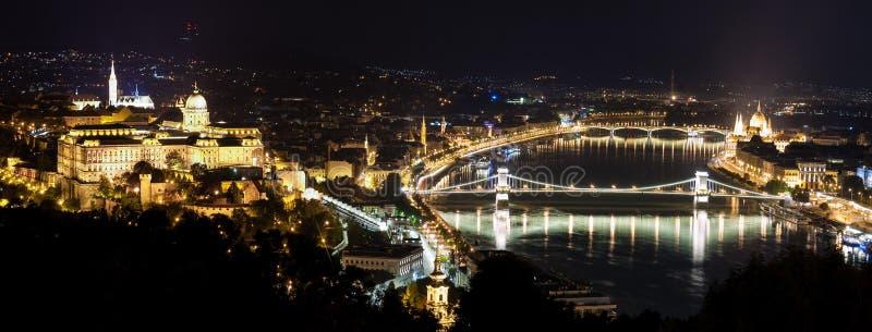 Будапешт на ноче, мост Будапешта цепной стоковое фото rf