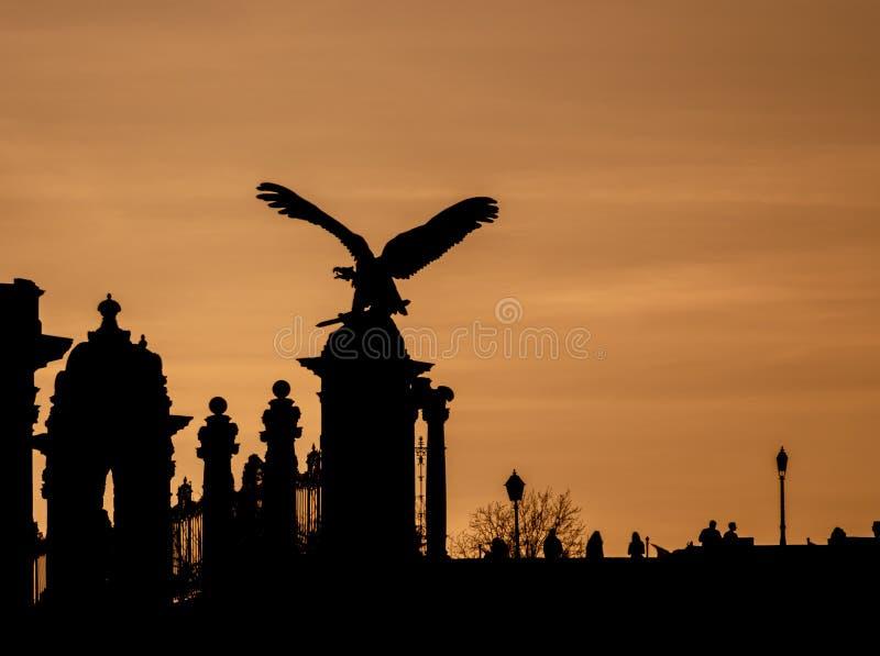 Будапешт, статуя Turul расположенная в королевском дворце стоковая фотография rf