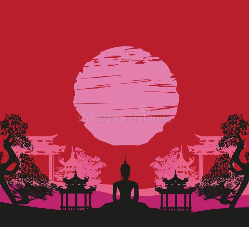 Будда и азиатский ландшафт иллюстрация штока