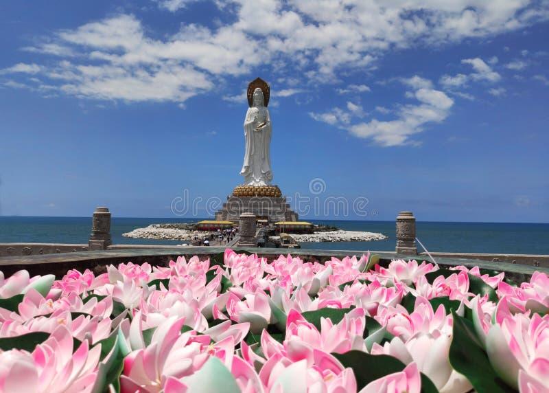 Буддийская статуя культуры guanyin Nanshan богини стоковые фото