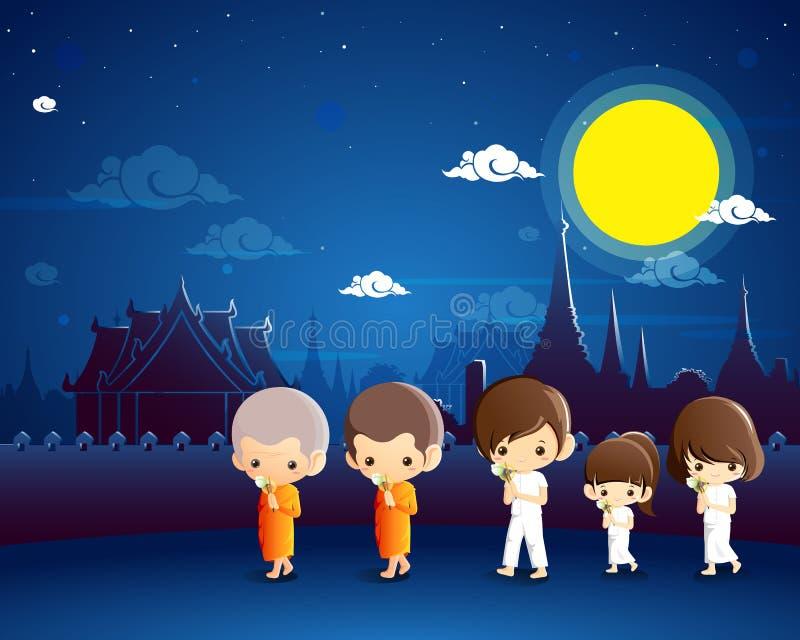 Буддийский идти с освещенными свечами в руке вокруг виска иллюстрация штока