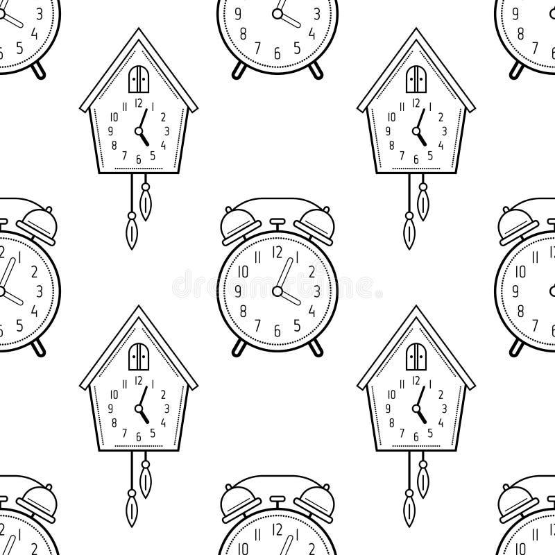 Будильник и часы с кукушкой Черно-белая безшовная картина для книжка-раскрасок, страниц иллюстрация штока