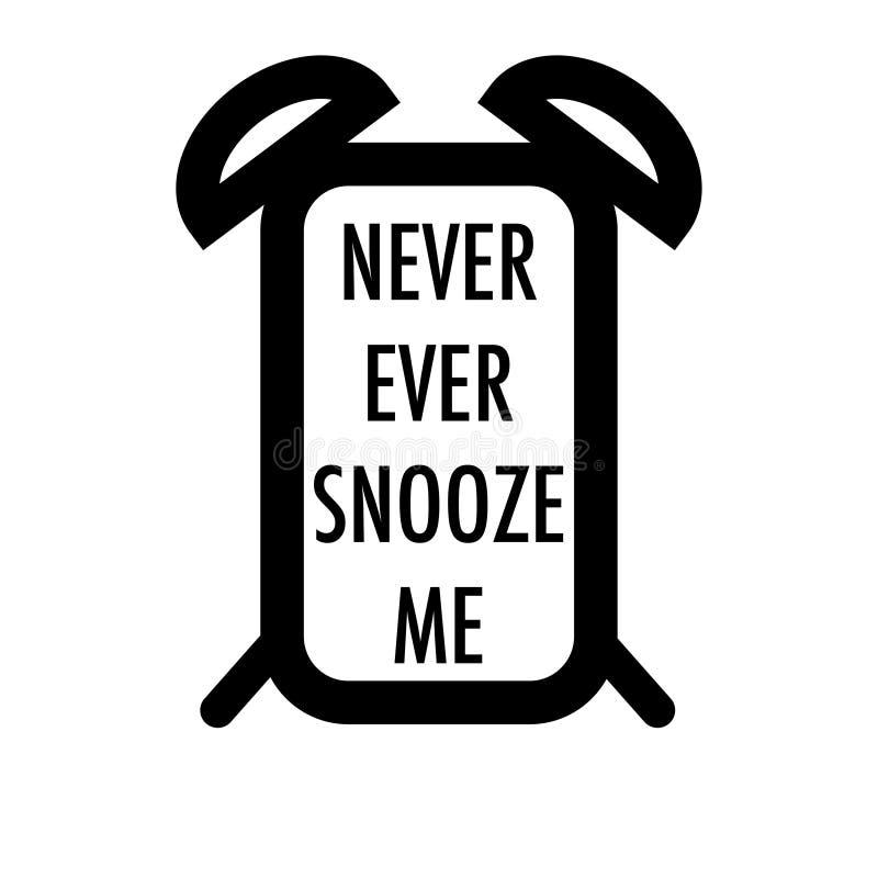 Будильник мобильного телефона никогда snooze я иллюстрация вектора