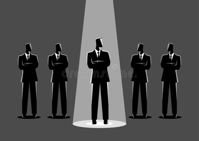 Будучи деланным центром внимания бизнесмен иллюстрация штока