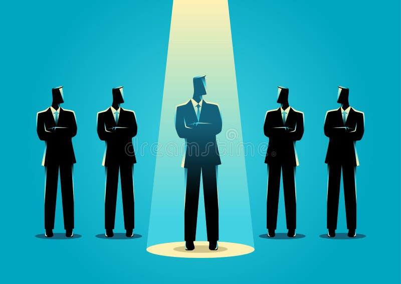 Будучи деланным центром внимания бизнесмен иллюстрация вектора