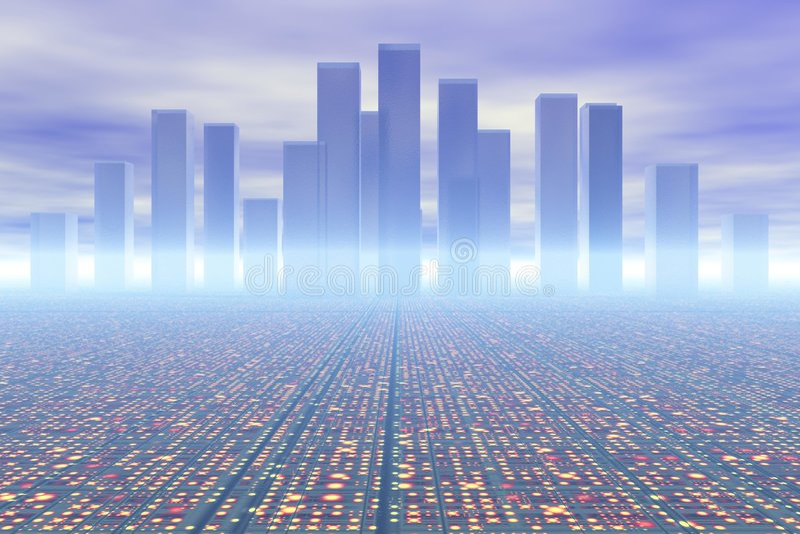 будущее города иллюстрация штока
