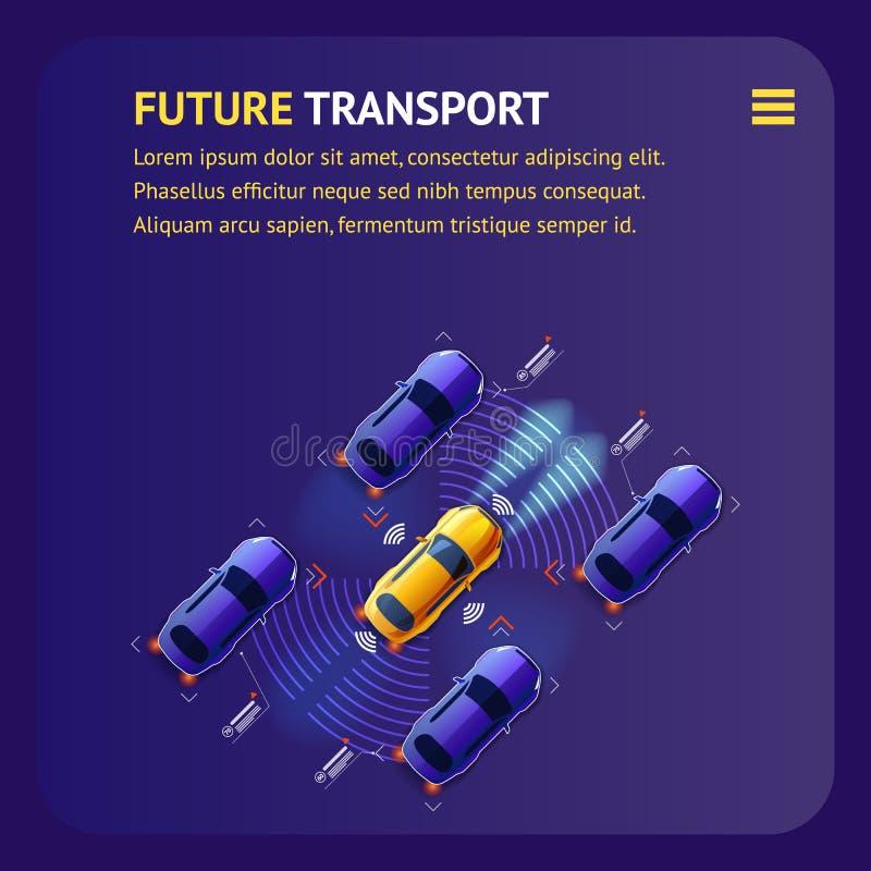 Будущее знамя перехода Умное движение автомобилей иллюстрация штока