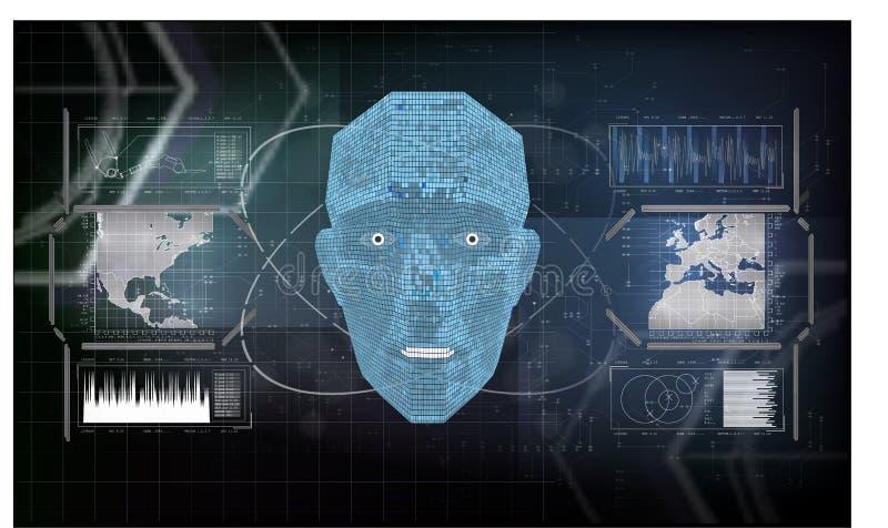 Будущее искусственного интеллекта AI, человеческого лица с текстом AI сделанным вычислительной цепью на голубой предпосылке бесплатная иллюстрация