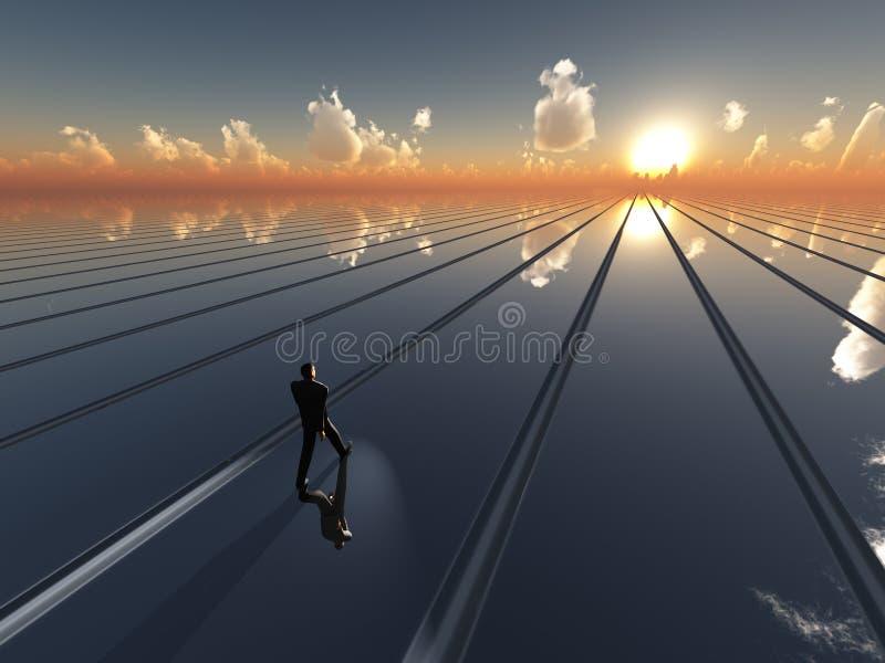 будущее солнце горизонта иллюстрация штока