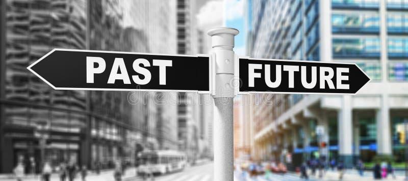 Будущее столба знака в прошлом стоковое фото rf