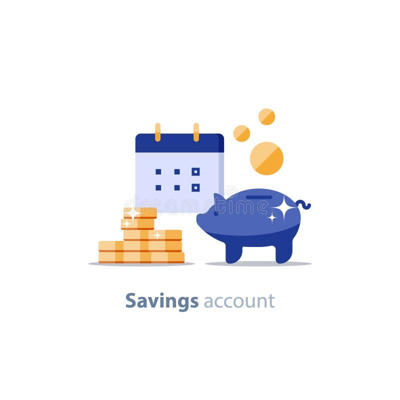 Будущий вклад, финансовая дата календаря, период оплаты, пенсионный фонд, финансы пенсии по старости, копилка, иллюстрация вектор иллюстрация штока