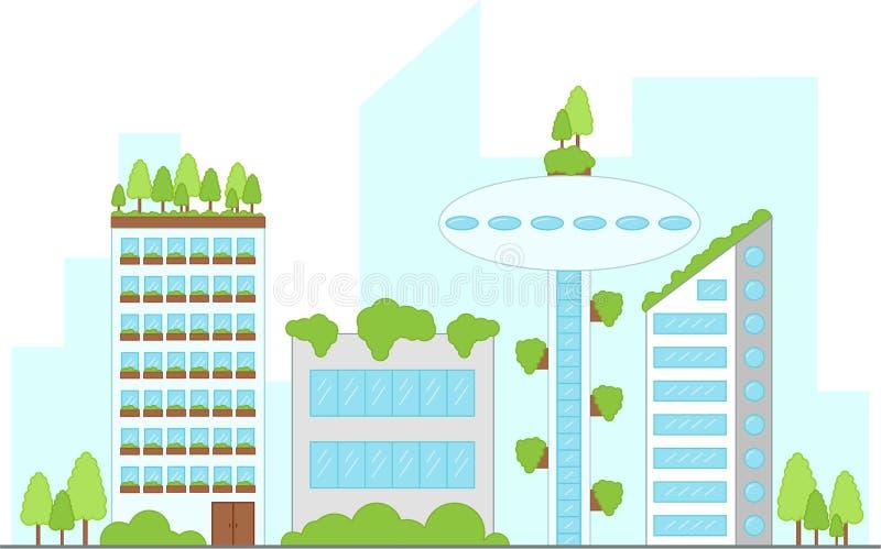 Будущий городской ландшафт со зданиями также вектор иллюстрации притяжки corel бесплатная иллюстрация