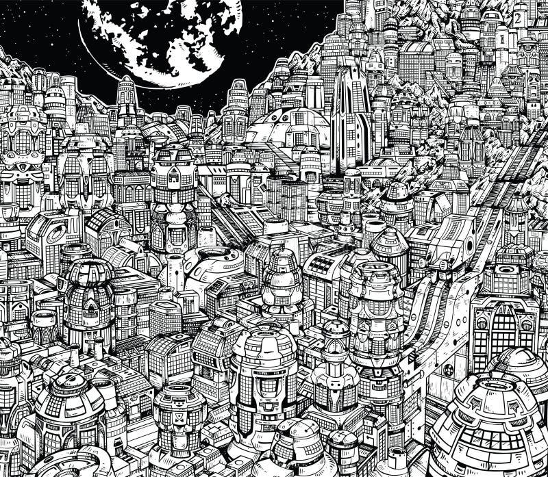 Будущий город большая метрополия города иллюстрация вектора