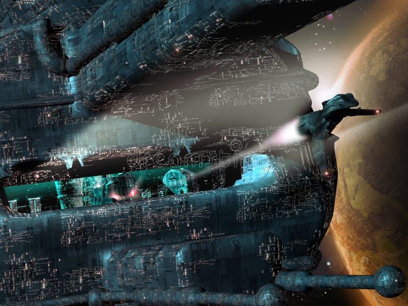 Будущий город в космосе бесплатная иллюстрация
