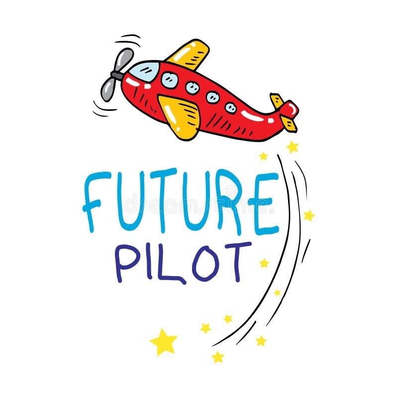 Будущий пилотный текст с иллюстрацией плоской руки мультфильма вычерченной иллюстрация штока
