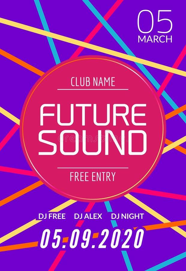 Будущий ядровый шаблон партии музыки, рогулька танцев, брошюра Знамя или плакат клуба партии ночи творческие с DJ бесплатная иллюстрация