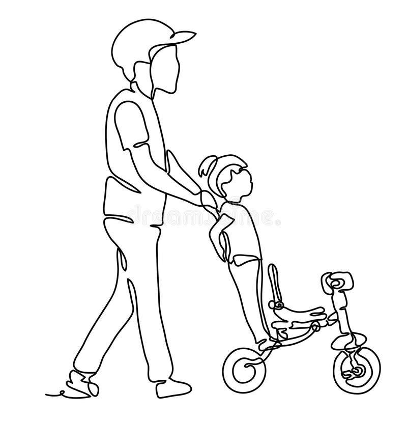 Будьте отцом идти с дочерью в парке, дочери порции отца для того чтобы ехать велосипед Непрерывная линия чертеж Monochrome вектор иллюстрация штока