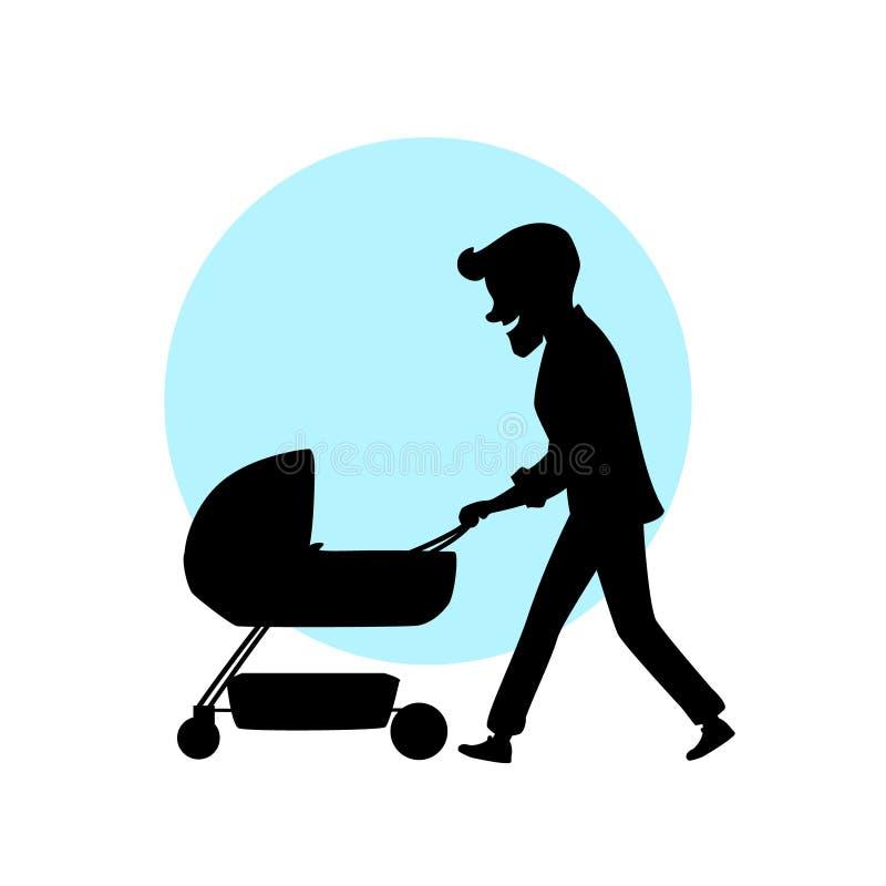 Будьте отцом идти с новорожденным ребенком в силуэте шаржа иллюстрации вектора pram иллюстрация штока