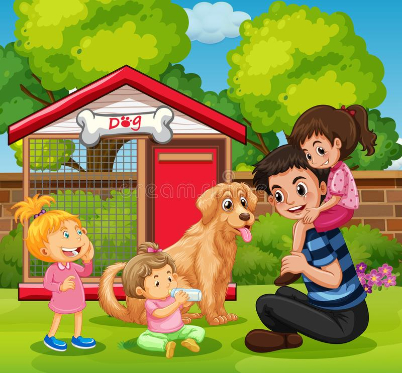 Будьте отцом и 3 девушки с собакой в саде иллюстрация штока