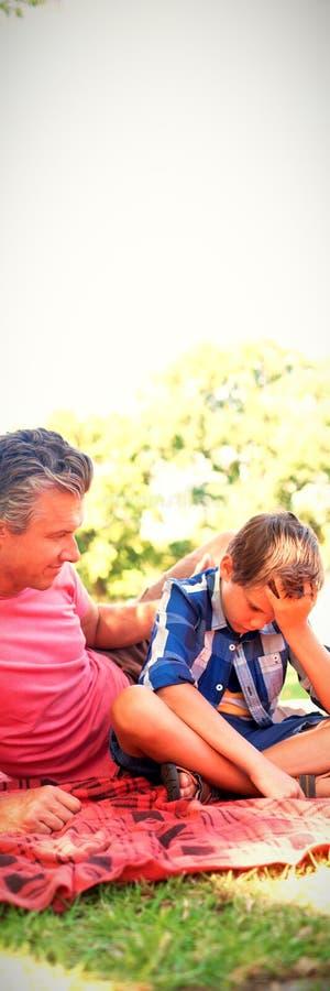 Будьте отцом утешать его сына на пикнике в парке стоковые изображения