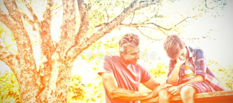 Будьте отцом утешать его сына на пикнике в парке стоковая фотография rf