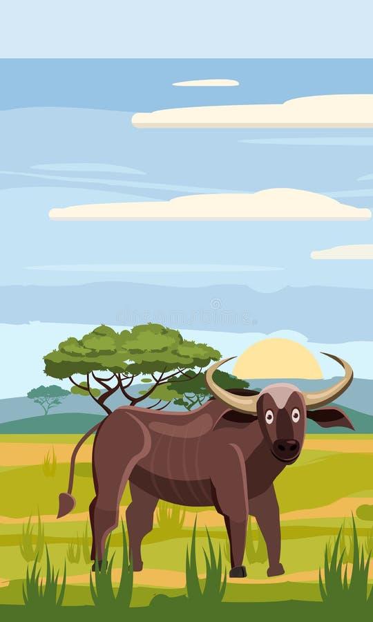 Буйвол на предпосылке африканского ландшафта, саванне, стиле шаржа, иллюстрации вектора бесплатная иллюстрация