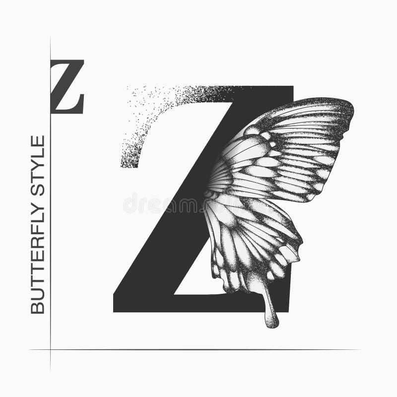 Буква Z с силуэтом бабочки Шаблон бабочки крыла монарха изолирован на белом фоне Каллиграфическая рука иллюстрация штока