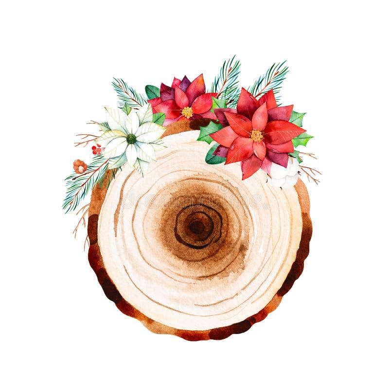 Букеты ÑŒWinter '‡ Ð°Ñ ÐŸÐΜÑ с листьями, ветвями, хлопком цветут, ягоды, цветки poinsettia с деревянным куском иллюстрация штока