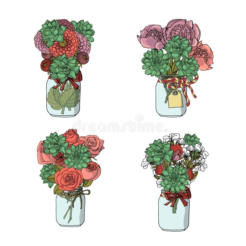 Букеты стиля doodle руки вычерченные различных цветков: роза, георгин, цветок запаса, сладкий горох, пион, succulents иллюстрация вектора
