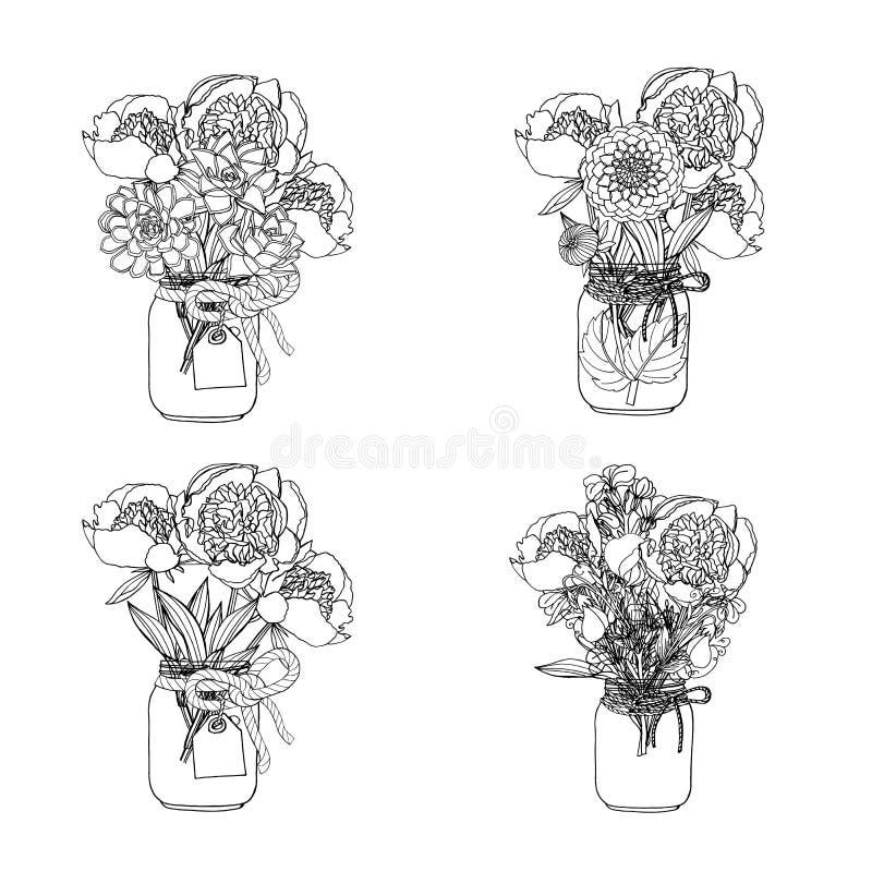Букеты стиля doodle руки вычерченные различных цветков: суккулентный, георгин, цветок запаса, сладкий горох иллюстрация вектора